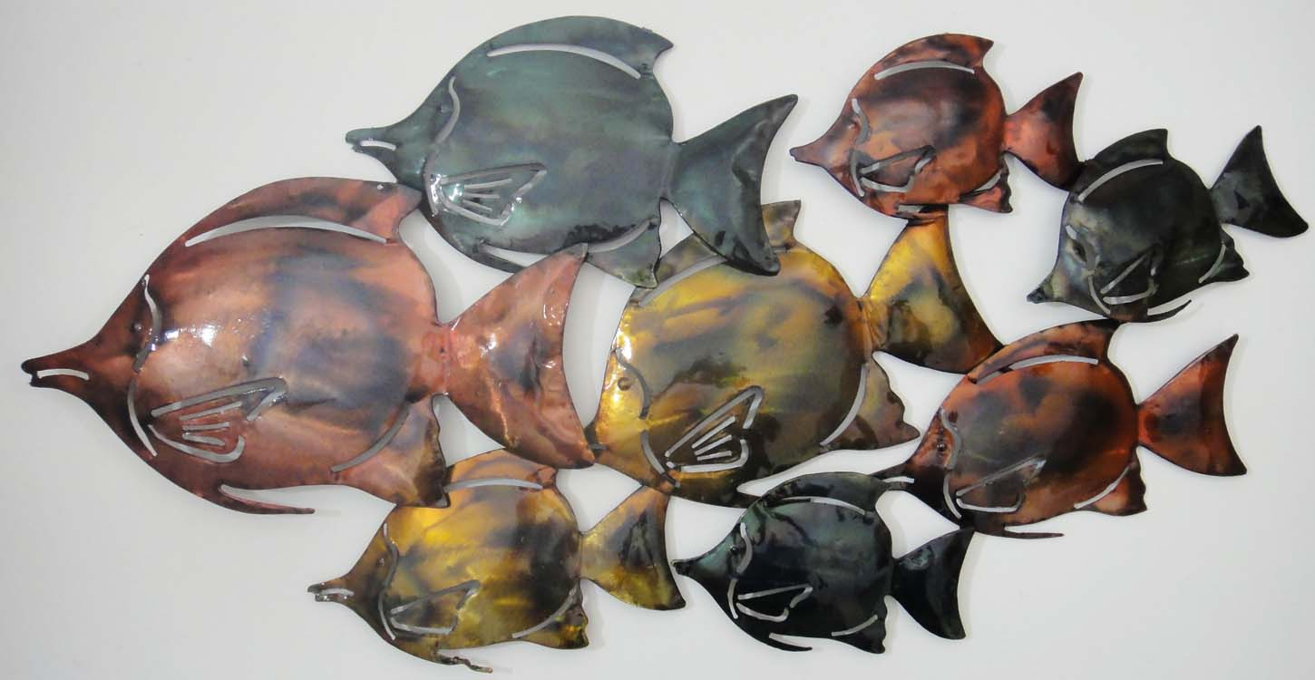 Metal Wall Art - Colour Fish Shoal