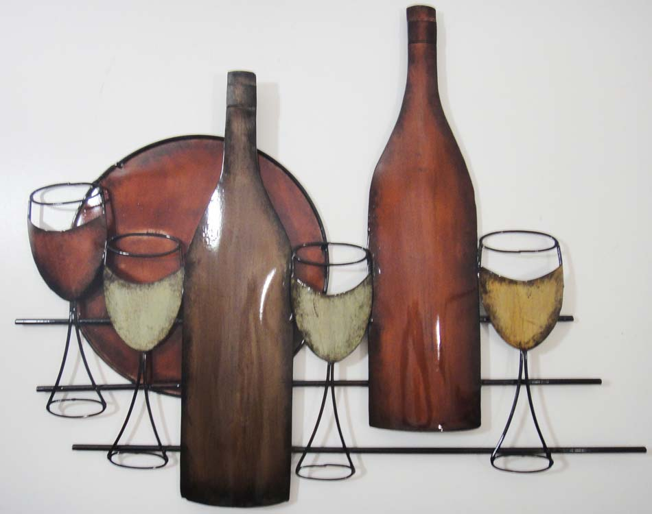 Metal Wall Art - Red Brown Bottle Wine Scene