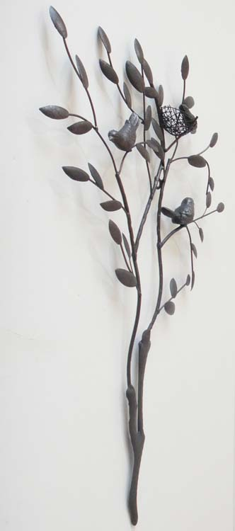 Metal Wall Art - Tree Branch With Nesting Birds