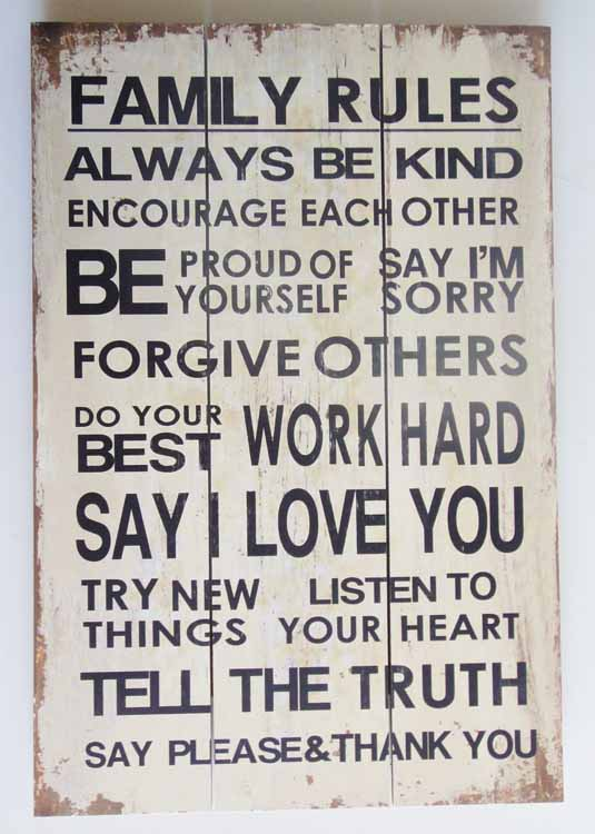 Wooden Wall Art - Family Rules Sign