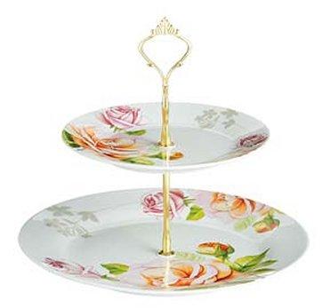 Tier Ceramic Porcelain Cake Stand - Peach Rose
