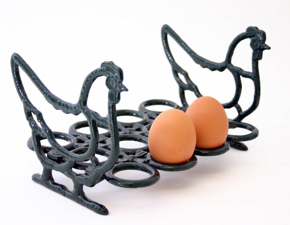 Cast iron chicken rooster egg rack holder 12 eggs ebay for Egg tray wall hanging