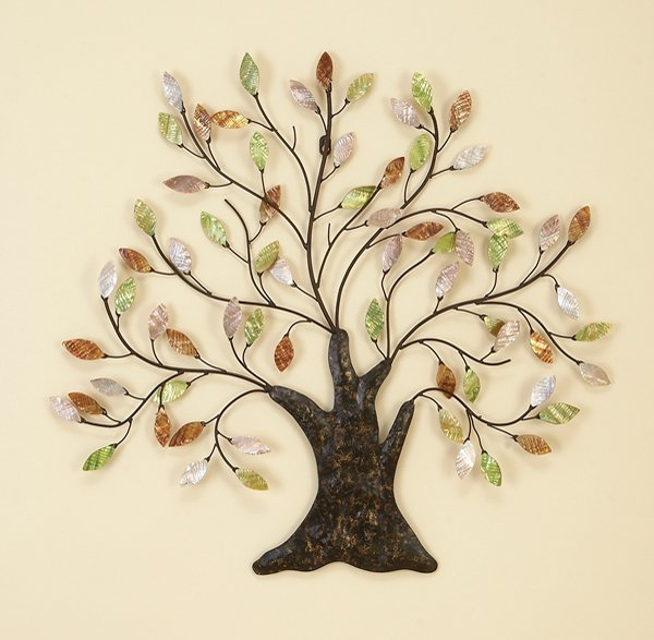 Metal Wall Art New Wall Decor Autumn Leaves Oak Tree Ebay