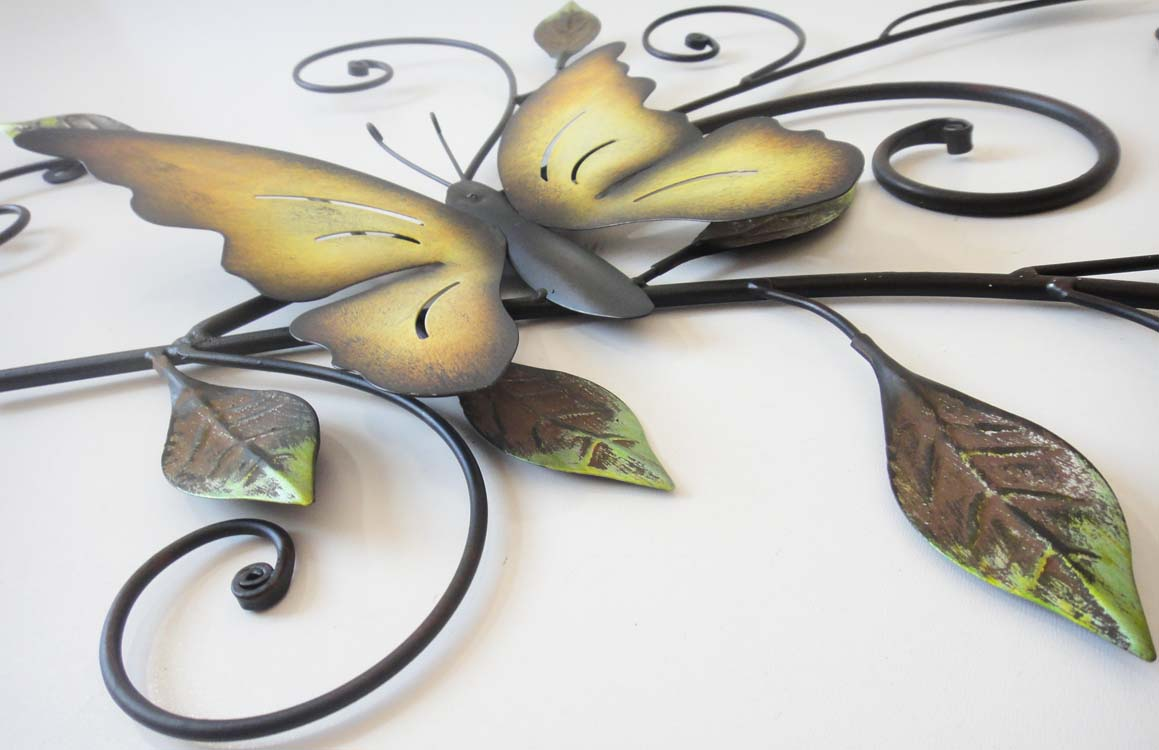 Metal Wall Art - Butterfly On Leaves