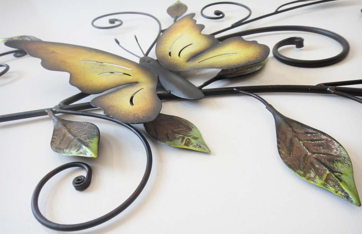 Metal Wall Art - Butterfly On Leaves