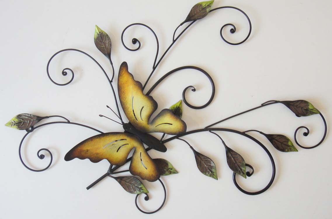 New contemporary metal wall art decor or sculpture butterfly on leaves - Decoration mural en metal ...