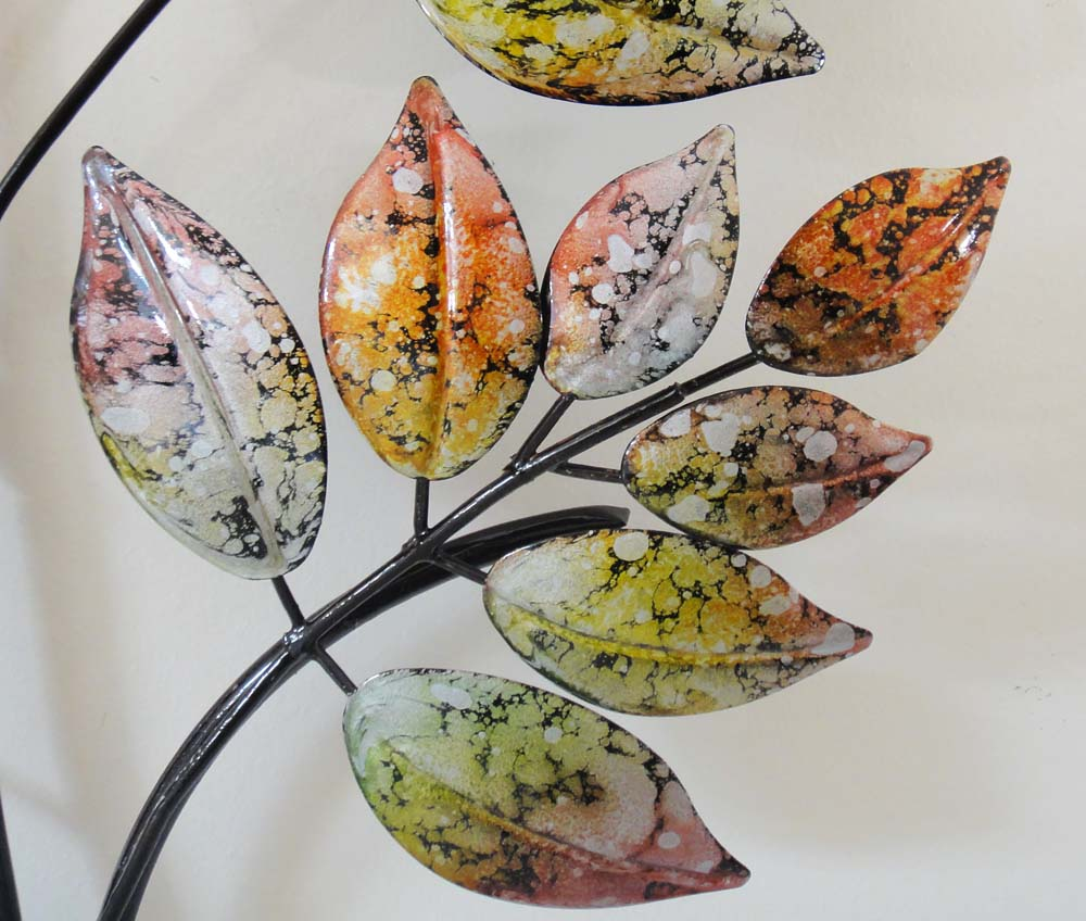 Contemporary metal wall art marble leaf tree branch ebay for Metal leaf wall art