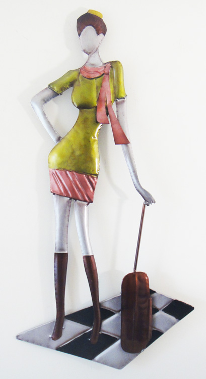 Metal Wall Art - Posing Lady With Suitcase