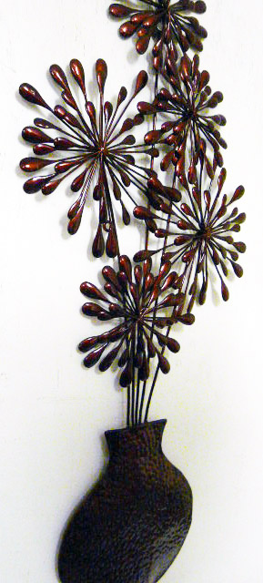 Dandelion Metal Wall Decor : Metal wall art decor dark red dandelion flower vase