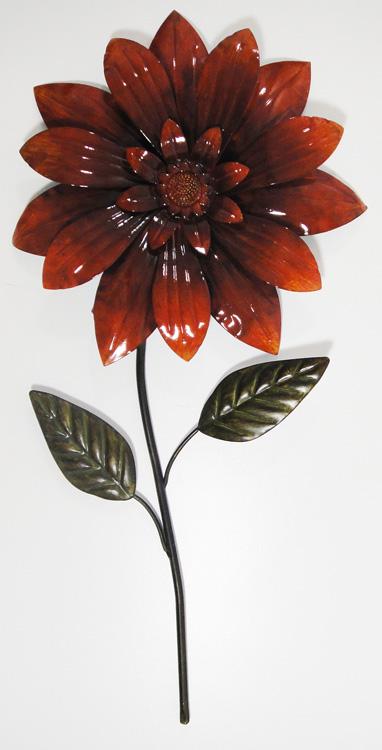 Wall Art Red Flower : Contemporary metal wall art red flower head on stem