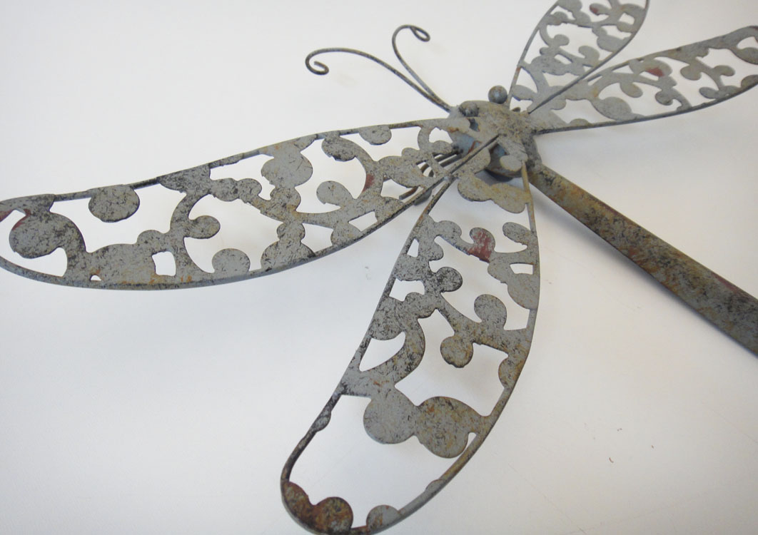 new metal wall art decor shabby chic rustic dragonfly ebay. Black Bedroom Furniture Sets. Home Design Ideas