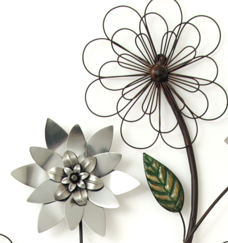 Metal wall art new wall decor silver flower branch ebay for Metal flower wall art
