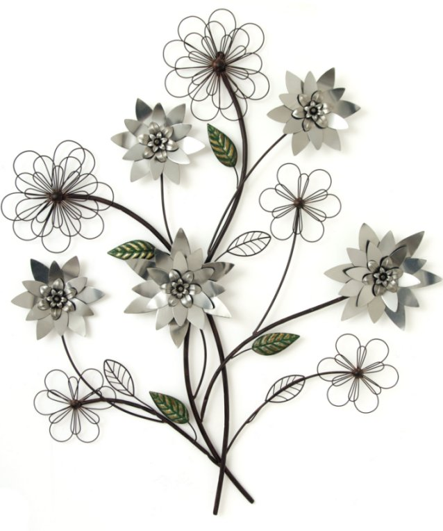 metal wall art new wall decor silver flower branch ebay. Black Bedroom Furniture Sets. Home Design Ideas