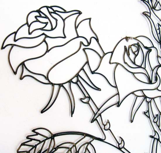 Metal Rose Wall Art Metal Wall Art New Wall Decor  Thorny Rose Flower  Ebay