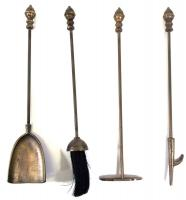 Antique 5 Piece Acorn Fireplace Companion Tool Set
