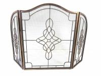 Antique Decorative Filigree 3 Fold Fire Screen Spark Guard