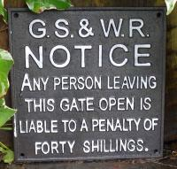 Cast Iron Sign - GS & WR Train Railway Notice