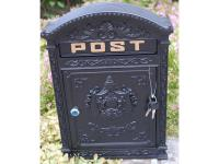 Cast Metal Wall Mounted Post Box - Black