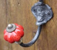 Coat Hook - Red Ceramic