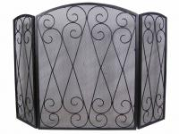 Decorative Double Scroll 3 Fold Fire Screen Spark Guard