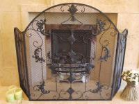 Decorative Scroll 3 Fold Fire Screen Spark Guard