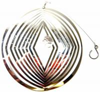 Large Diamond in Circle Stainless Steel Wind Spinner With Crystal