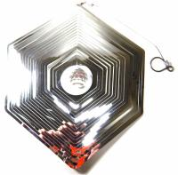 Large Hexagon Stainless Steel Wind Spinner With Crystal
