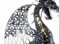 Large Intricate Metal Winged Dragon Statue
