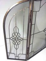 Large Antique Decorative Filigree 3 Fold Fire Screen Spark Guard