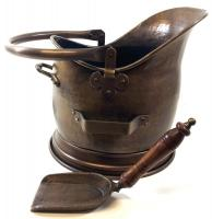 Large Antique Finish Helmet Coal Scuttle And Shovel