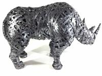 Large Grey Metal Rhino Standing Statue