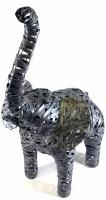 Large Grey Metal Elephant Standing Statue