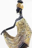 Masai African Lady In Gold Figurine