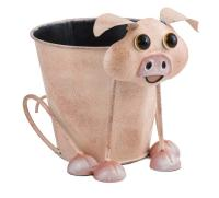 Metal Animal Flower Pot Planter - Pig