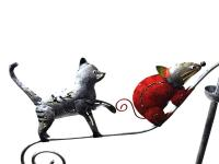 Metal Garden Wind Vane Spinner - Cat Dog and Mouse Design