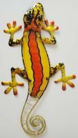Metal Glass Wall Art - Yellow Orange Gecko Lizard