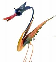 Metal Sculpture Home or Garden Ornament - Colourful Barmy Bird