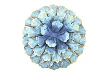 Metal Wall Art - Large Shabby Chic Teal Flower