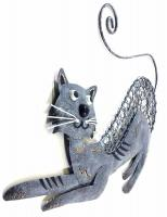Metal Wall Art - Pouncing Cat Wall Decor