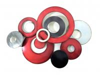 Metal Wall Art - Red Linked Circle Disc Abstract