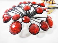 Metal Wall Art - Red Orange Jewel Flower Bunch