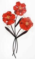 Metal Wall Art - Red Poppy Bunch Of 3