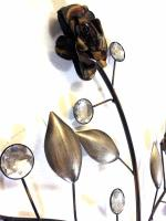 Metal Wall Art - Rose Jewel Leaf Bunch