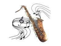 Metal Wall Art - Saxophone Music Swirl