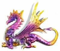 Metal Wall Art - Small Baby Dragon Purple