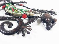 Metal Wall Art - Small Baby Green Mosaic Gecko