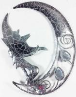 Metal Wall Art - Small Sparkle Glitter Fairy Moon Silver