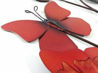 Metal Wall Art - Summer Fire Red Butterflies