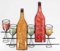 Metal Wall Art - Wine Bottle And Glasses Scene