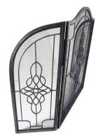 Pewter Decorative Filigree 3 Fold Fire Screen Spark Guard